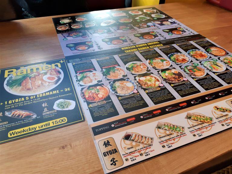 Takumi Ramen Kitchen menù con opzioni vegane