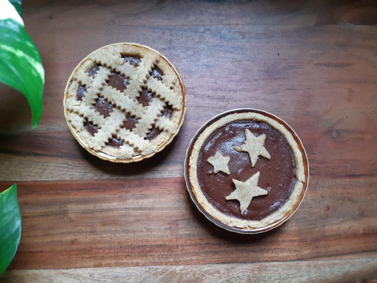 Crostata con crema di pere e cioccolato